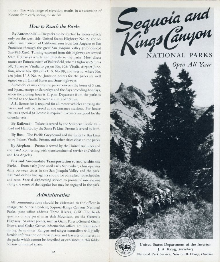 Sequoia and Kings Canyon National Parks open all year United States Department of the Interior J. A. Krug, Secretary National Park Service, Newton B. Drury, Director [cover title]. UNITED STATES. DEPARTMENT OF THE INTERIOR. NATIONAL PARK SERVICE.