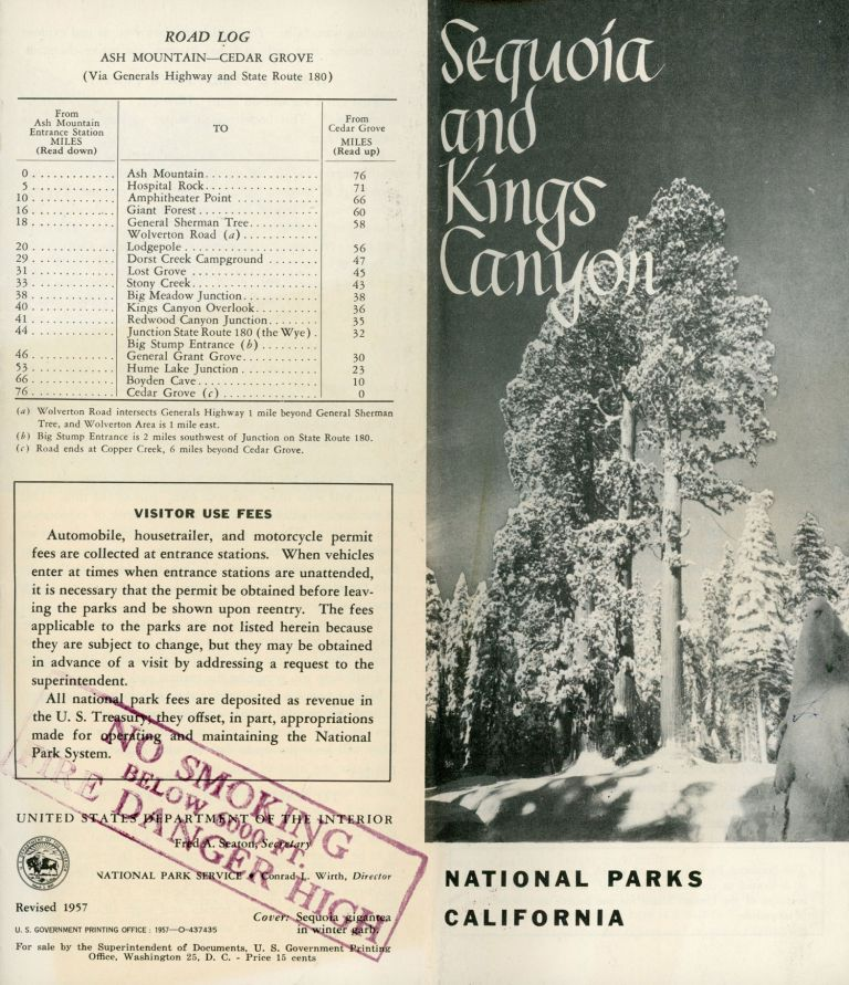 Sequoia and Kings Canyon National Parks [cover title]. UNITED STATES. DEPARTMENT OF THE INTERIOR. NATIONAL PARK SERVICE.