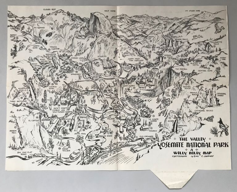 The Valley, Yosemite National Park. A Willy Nilly Map. WILLY NILLY MAP CO, CARROLL BARNES.