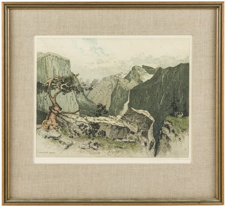 Yosemite Valley from Artist's Point. Color etching. JOSEF EIDENBERGER.