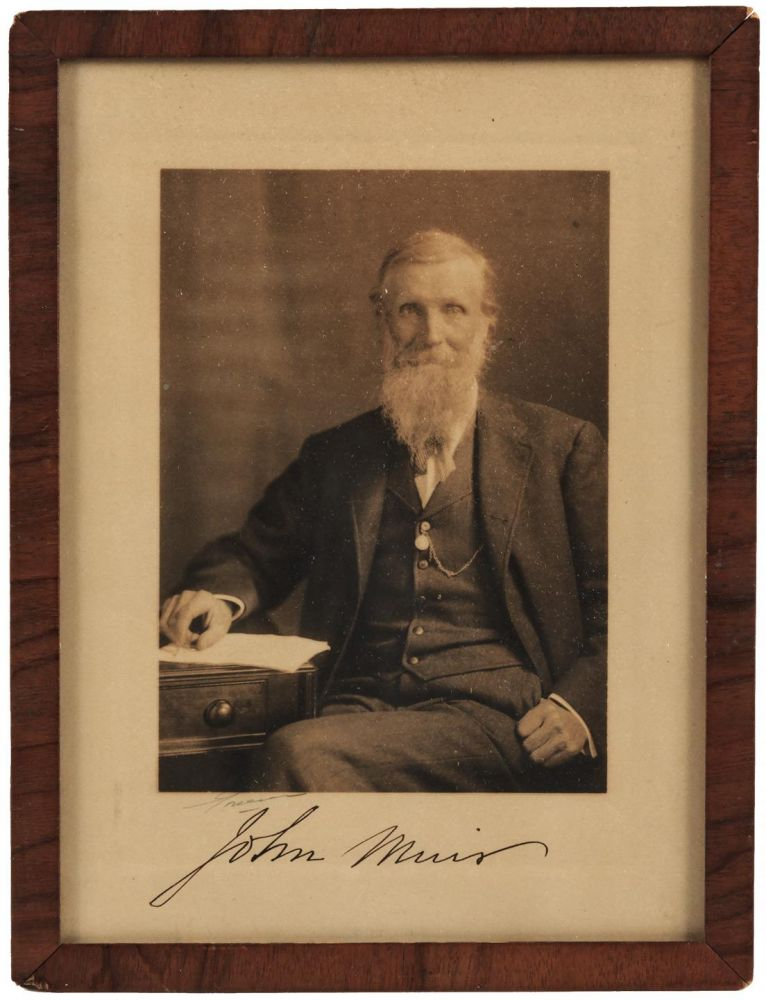Photograph of John Muir, signed by him in ink beneath the image. JOHN MUIR, subject.