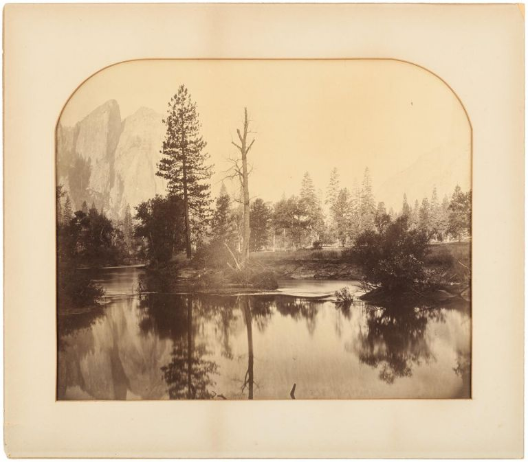 [Yosemite Valley] View down the valley, from the Ferry Bend, Merced River and Cathedral Rocks. Albumen print. CARLETON E. WATKINS.