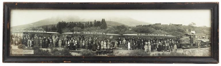 ORIGINAL PANORAMIC PHOTOGRAPH OF A 1918 OUTING ON THE MOUNT TAMALPAIS AND MUIR WOODS RAILWAY. California, Marin County, Mt. Tamalpais.