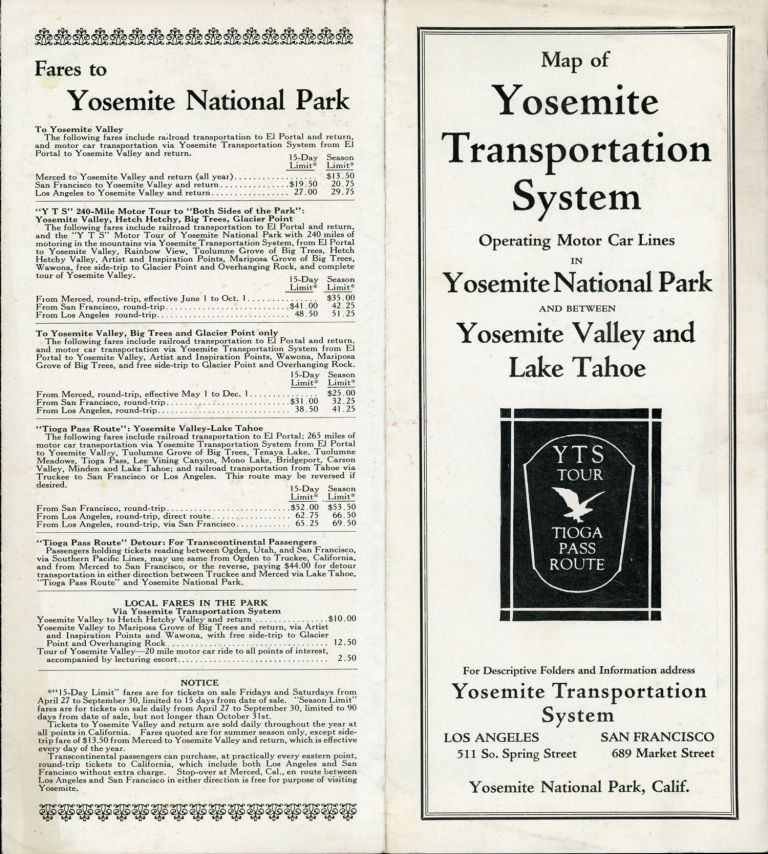 Map of Yosemite Transportation System operating motor car lines in Yosemite National Park and between Yosemite Valley and Lake Tahoe. YTS tour Tioga Pass route. For descriptive folders and information address Yosemite Transportation System Los Angeles 511 So. Spring Street San Francisco 689 Market Street Yosemite National Park, Calif [cover title]. YOSEMITE TRANSPORTATION SYSTEM.