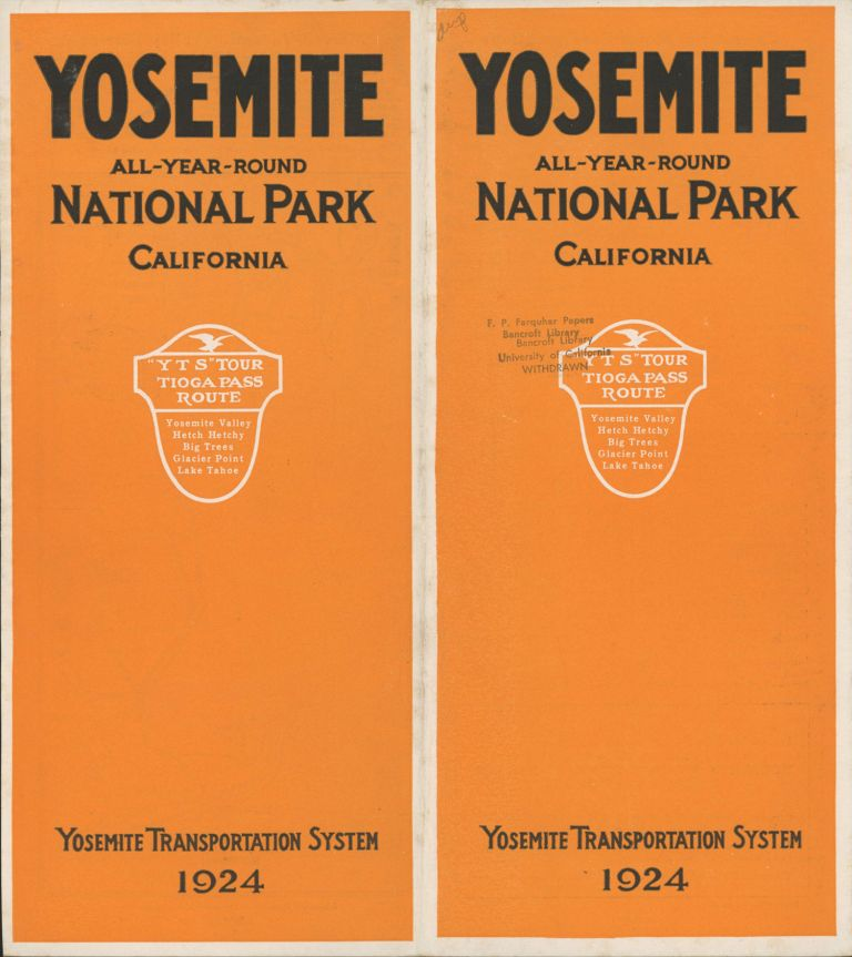 Yosemite all-year-round National Park California Y T S tour Tioga Pass route Yosemite Valley Hetch Hetchy Big Trees Glacier Point Lake Tahoe Yosemite Transportation System 1924 [cover title]. YOSEMITE TRANSPORTATION SYSTEM.