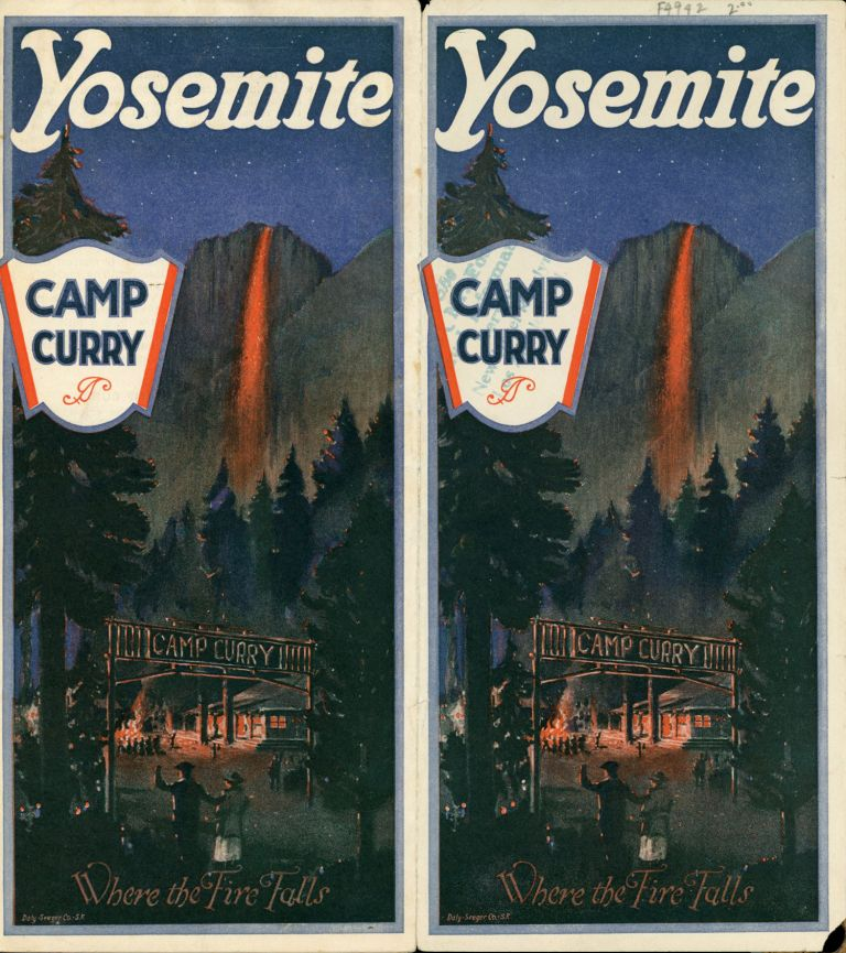 Yosemite Camp Curry where the fire falls [cover title]. CAMP CURRY.
