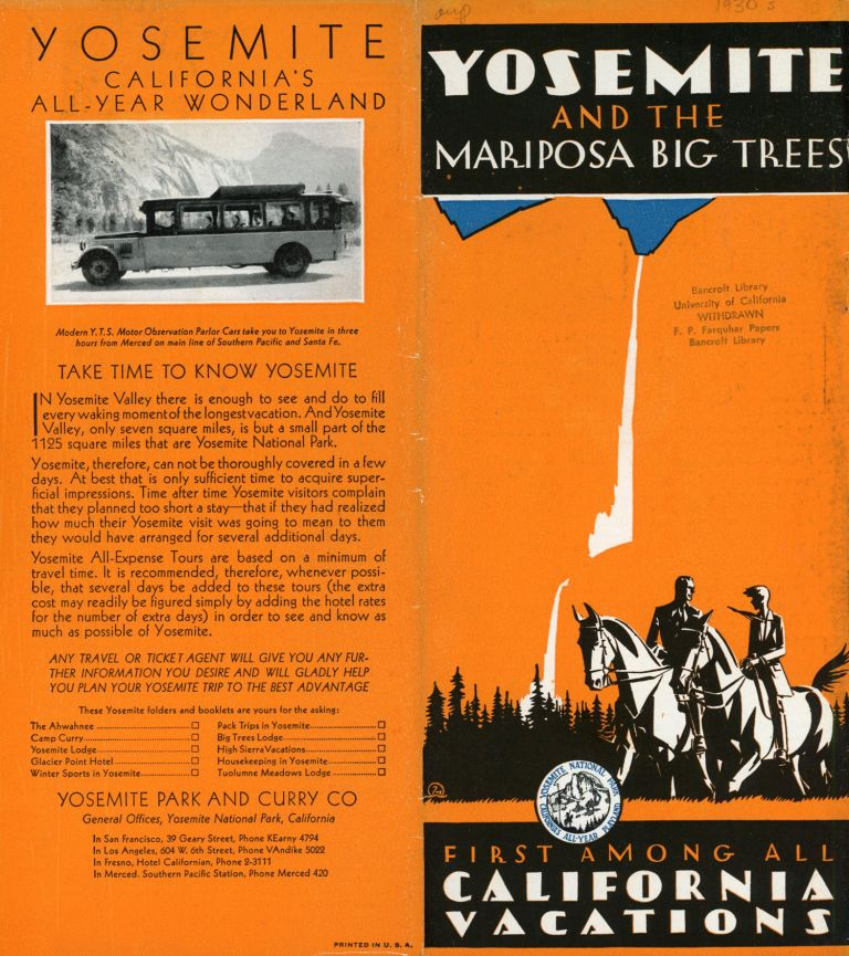 Yosemite and the Mariposa Big Trees[.] First among all California vacations [cover title]. YOSEMITE PARK AND CURRY COMPANY.