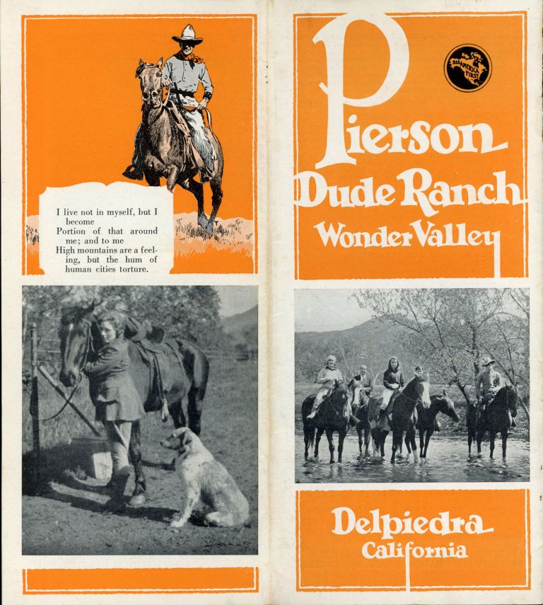 PIERSON DUDE RANCH WONDER VALLEY DELPIEDRA CALIFORNIA [cover title]. California, Fresno County.