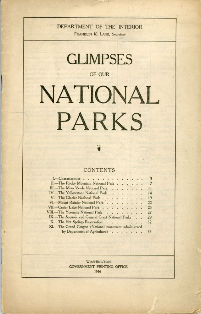 Glimpses of our national parks ... [cover title]. ROBERT STERLING YARD.