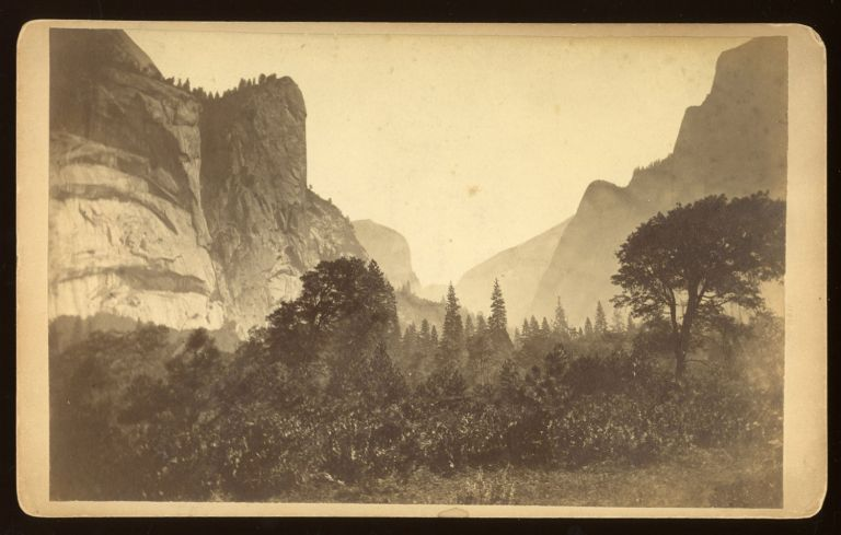 [Yosemite Valley] Untitled [View up the Valley with Royal Arches, Washington Column and Mount Watkins on the left]. Albumen print. GUSTAVUS FAGERSTEEN.