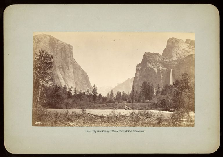 """[Yosemite Valley] """"Up the Valley from Bridal Veil Meadow."""" Albumen print. Signed """"Fiske"""" in the plate. Stock number 304. GEORGE FISKE."""