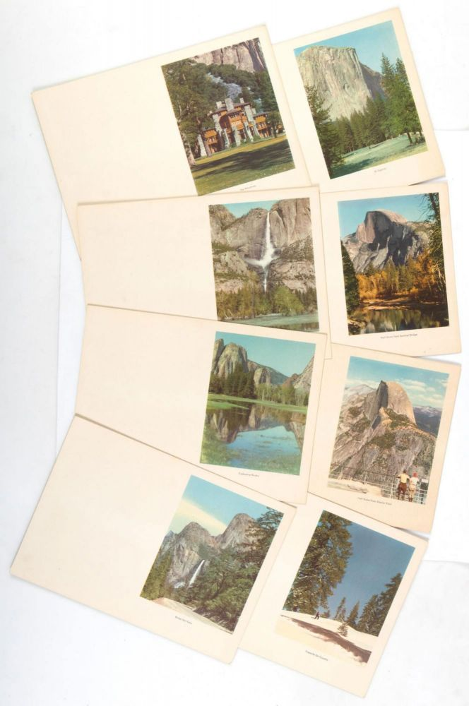 [Yosemite] Eight colored lithographs from photographs of Yosemite Valley [title supplied]. YOSEMITE PARK AND CURRY COMPANY.