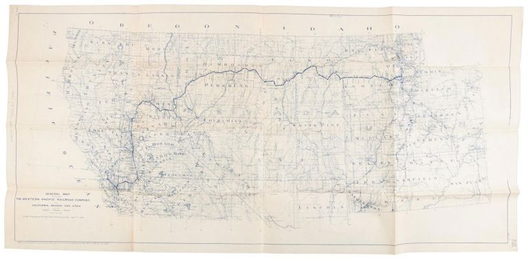 """GENERAL MAP SHOWING THE WESTERN PACIFIC RAILROAD COMPANY. IN CALIFORNIA, NEVADA AND UTAH[.] Scale 1"""" = 21 miles. Chief Engineer's Office, San Francisco, Cal., April 27, 1918. Revised -- June 1916, -- Aug. 1917, -- Sept. 1, 1917, -- April 8, 1918, -- April 27, 1918, -- July 9, 1918. Nov. 3 1919. Oct. 30-1922. Western Pacific Railroad Company."""