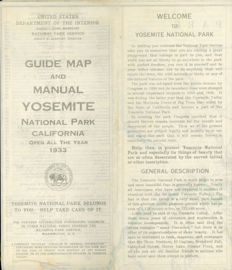 Motorists guide map and manual Yosemite National Park California open all year 1933 ... [cover title]. UNITED STATES. DEPARTMENT OF THE INTERIOR. NATIONAL PARK SERVICE.