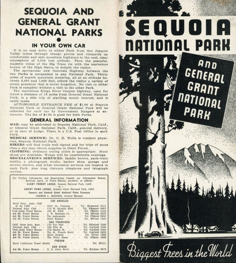 Sequoia National Park and General Grant National Park[.] Biggest trees in the world [cover title]. SEQUOIA AND GENERAL GRANT NATIONAL PARKS COMPANY.