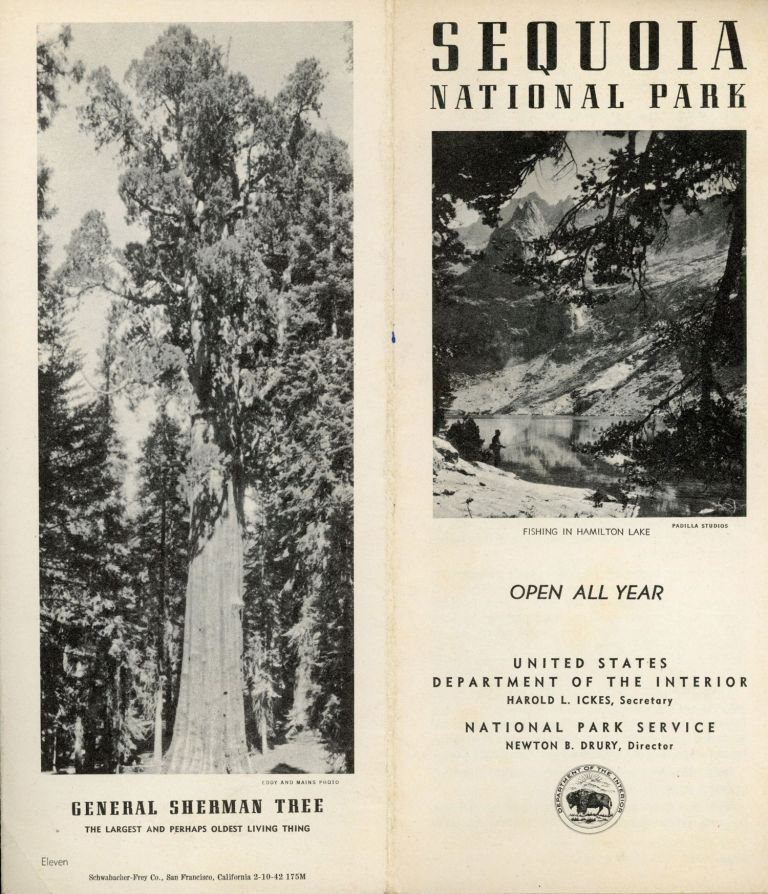 Sequoia National Park open all year United States Department of the Interior Harold L. Ickes, Secretary National Park Service, Newton B. Drury, Director [cover title]. UNITED STATES. DEPARTMENT OF THE INTERIOR. NATIONAL PARK SERVICE.