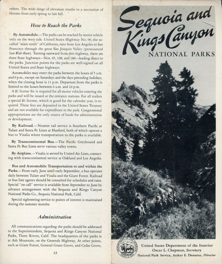 Sequoia and Kings Canyon National Parks United States Department of the Interior Oscar L. Chapman, Secretary National Park Service, Arthur E. Demaray, Director [cover title]. UNITED STATES. DEPARTMENT OF THE INTERIOR. NATIONAL PARK SERVICE.