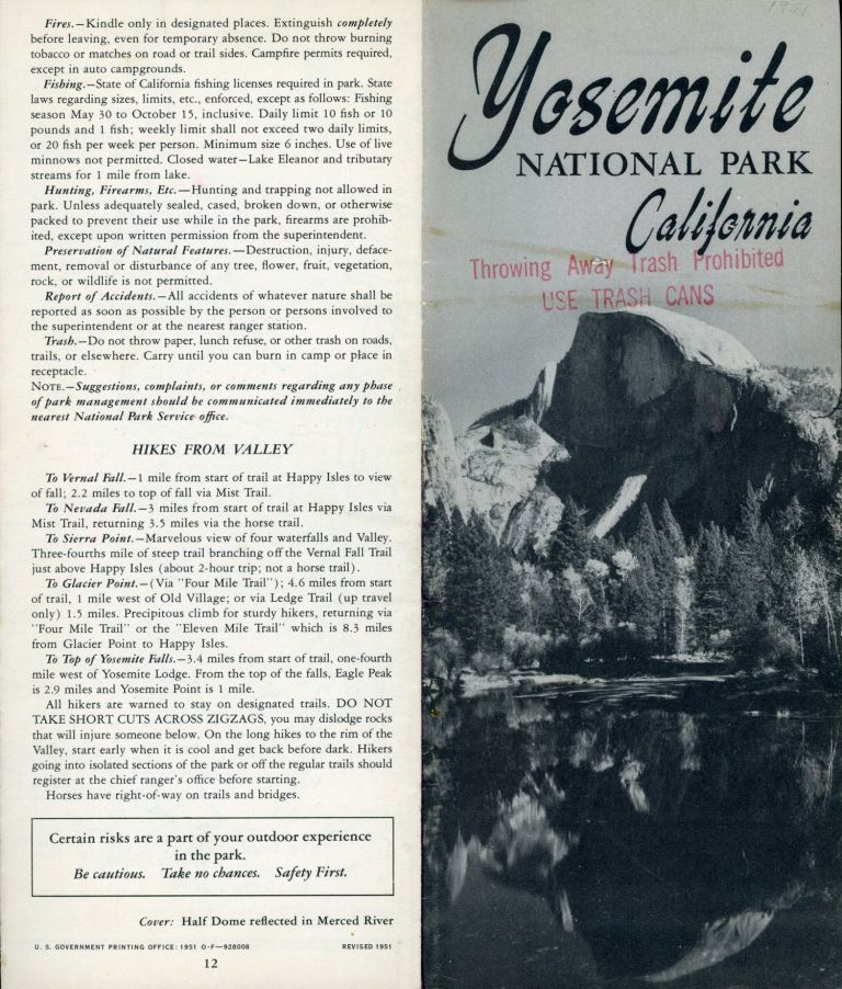 Yosemite National Park California [cover title]. UNITED STATES. DEPARTMENT OF THE INTERIOR. NATIONAL PARK SERVICE.