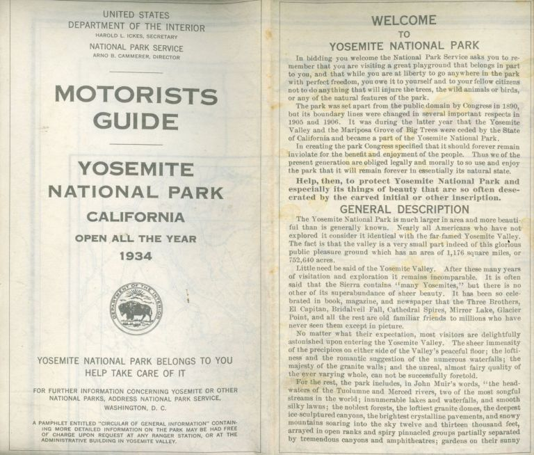 Motorists guide Yosemite National Park California open all year 1934 ... [cover title]. UNITED STATES. DEPARTMENT OF THE INTERIOR. NATIONAL PARK SERVICE.
