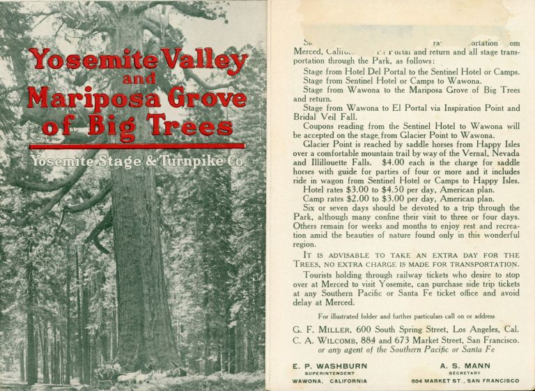 Yosemite Valley and Mariposa Grove of Big Trees[.] Yosemite Stage & Turnpike Co. [cover title]. YOSEMITE STAGE AND TURNPIKE COMPANY.