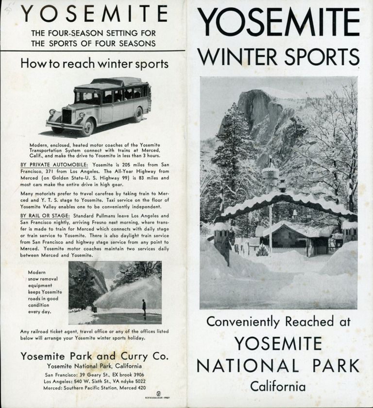 Yosemite winter sports conveniently reached at Yosemite National Park California [cover title]. YOSEMITE PARK AND CURRY COMPANY.