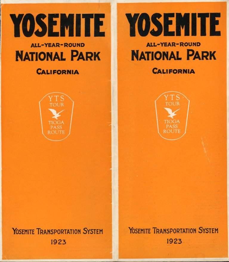 Yosemite all-year-round National Park California Y T S tour Tioga Pass route Yosemite Transportation System 1923 [cover title]. YOSEMITE TRANSPORTATION SYSTEM.