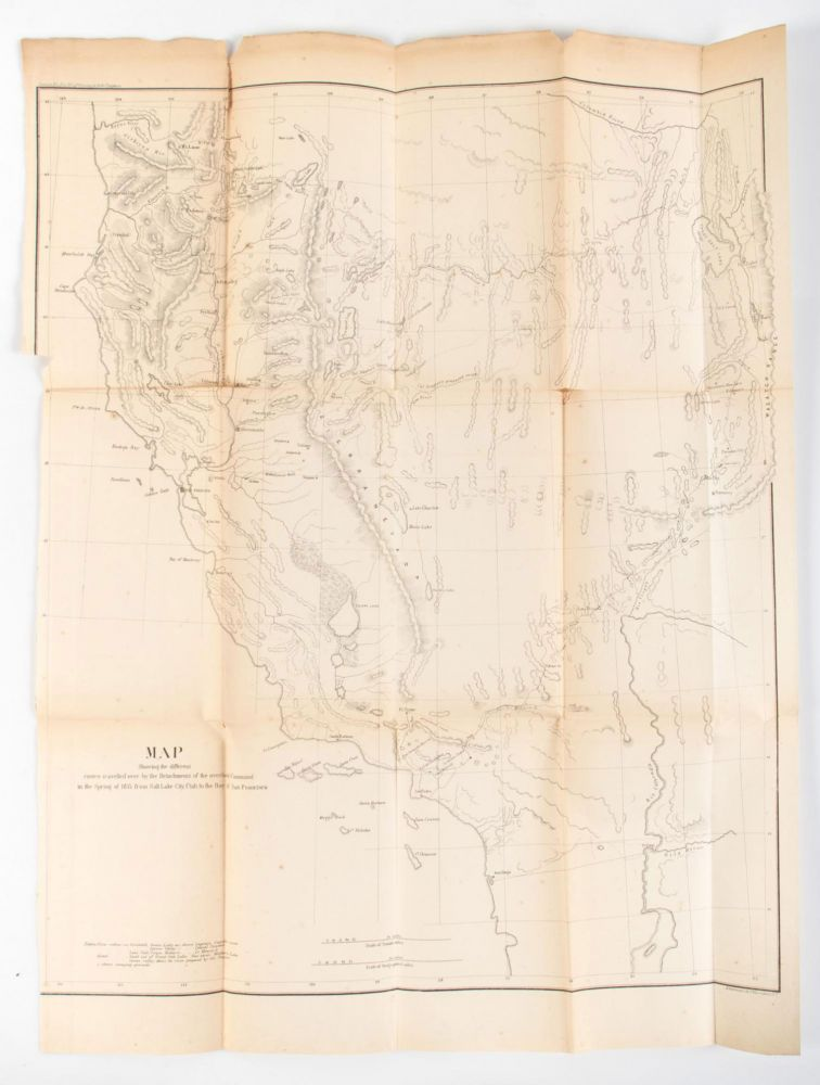 MAP SHOWING THE DIFFERENT ROUTES TRAVELLED OVER BY THE DETACHMENTS OF THE OVERLAND COMMAND IN THE SPRING OF 1855 FROM SALT LAKE CITY, UTAH TO THE BAY OF SAN FRANCISCO. E. J. Steptoe, Rufus Ingalls.