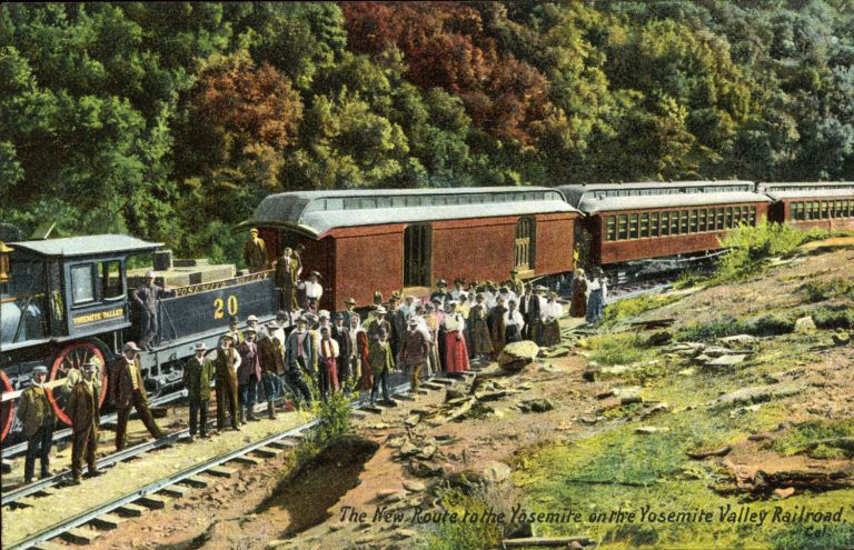THE NEW ROUTE TO THE YOSEMITE ON THE YOSEMITE VALLEY RAILROAD. Color postcard. Charles Weidner.