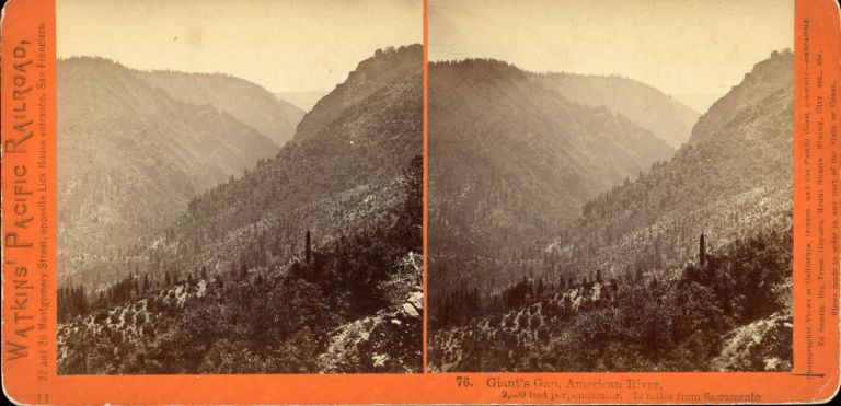 FOUR STEREOSCOPIC PHOTOGRAPHS OF THE CENTRAL PACIFIC RAILROAD AND PALISADE CANYON TAKEN FOR THE C. P. R. R. BY ALFRED A. HART FROM 1864 TO 1869. Central Pacific Railroad, Alfred A. Hart.