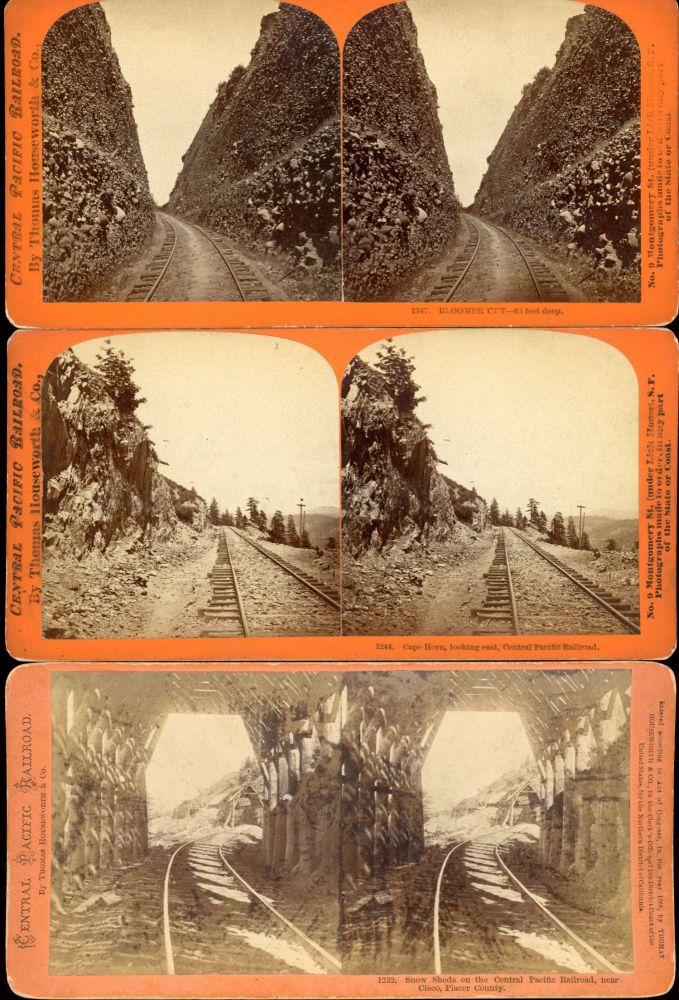 EIGHT STEREOSCOPIC PHOTOGRAPHS OF THE CENTRAL PACIFIC RAILROAD AND ADJACENT AREAS TAKEN BY CARLETON E. WATKINS IN 1869. Central Pacific Railroad, Carleton E. Watkins.