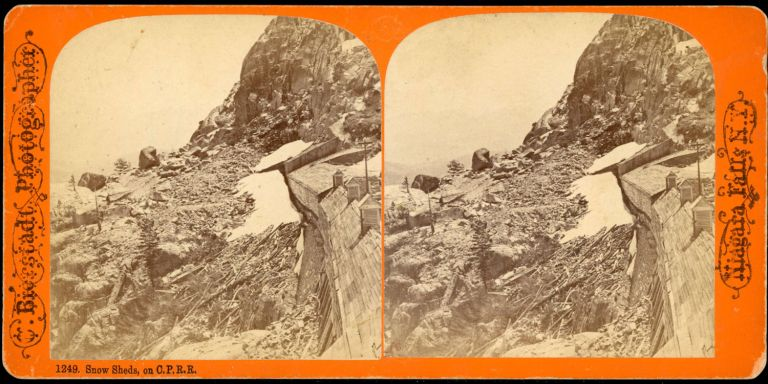 SNOW SHEDS ON C. P. R. R. Stereoscopic view. Central Pacific Railroad, Charles Bierstadt.