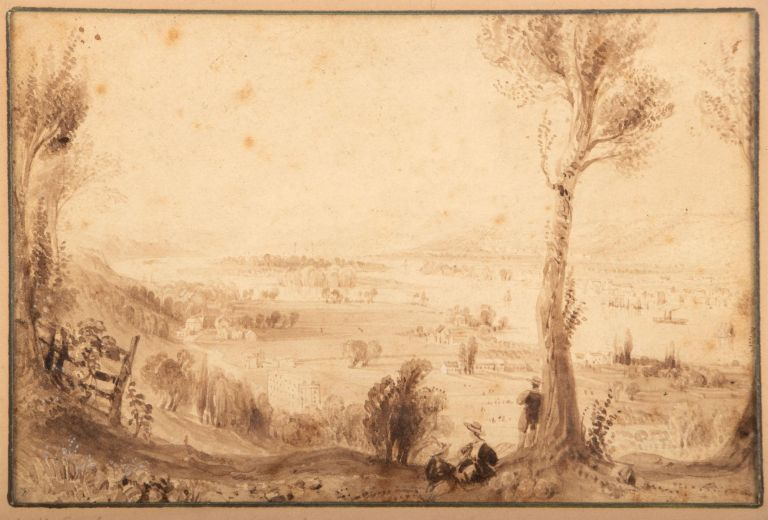 VIEW FROM MOUNT IDA [TROY, NEW YORK]. Original drawing. New York, Troy, Hudson River.