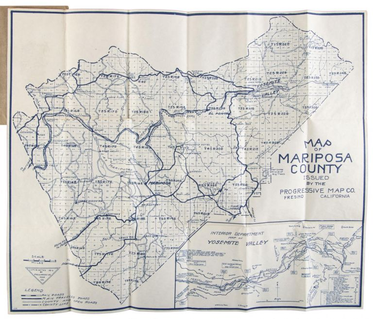 Map of Mariposa County issued by the Progressive Map Co. Fresno California copyrighted 1916 by Progressive Map Co. PROGRESSIVE MAP SERVICE, aka PROGRESSIVE MAP CO.