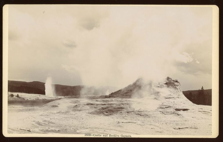 CASTLE AND BEEHIVE GEYSERS. No. 3609. Gelatin silver print. Yellowstone National Park, Frank Jay Haynes.
