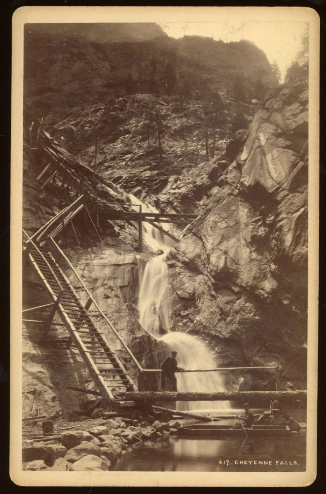 CHEYENNE FALLS [i.e. SEVEN FALLS]. No. 417. Albumen print. Colorado, William Henry Jackson.