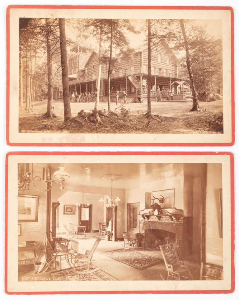 ADIRONDACK LODGE, CLEAR LAKE No. 432 [with] ADIRONDACK LODGE, PARLOR. No. 440. Two albumen prints. Adirondacks, Clear Lake.