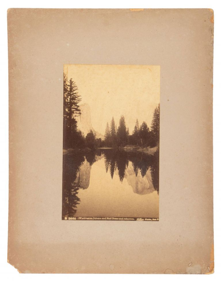 """[Yosemite Valley] """"Washington Column and Half Dome and reflection."""" Albumen cabinet photograph. ISAIAH WEST TABER."""