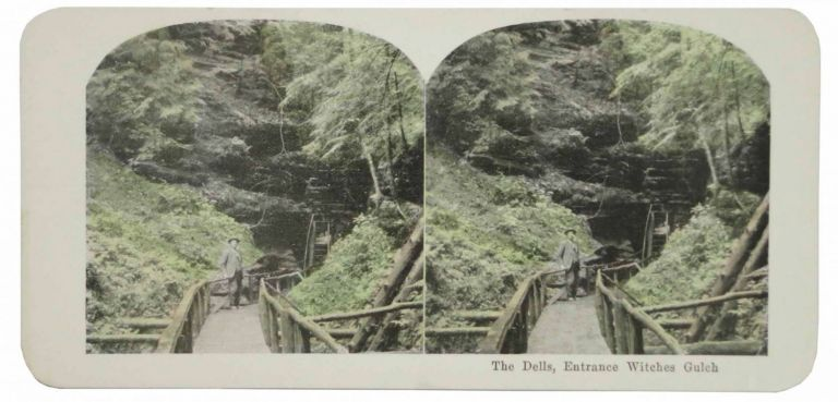 25 VIEWS COLORED STEREOGRAPHS MADE FROM THE ORIGINAL NEGATIVES AND GUARANTEED TO BE GENUINE REPRODUCTIONS OF ALL THE MOST INTERESTING SIGHTS OF THE WORLD [box title]. Wisconsin, The Dells of the Wisconsin River.