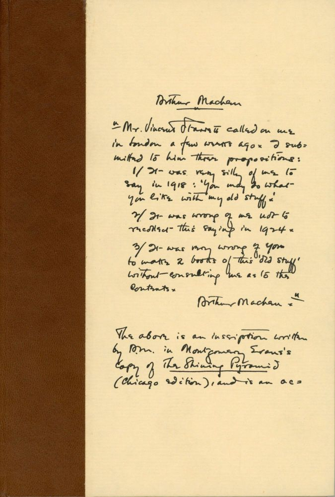 STARRETT VS. MACHEN: A RECORD OF DISCOVERY AND CORRESPONDENCE. Introduction by Michael Murphy. Vincent Starrett, Arthur Machen.