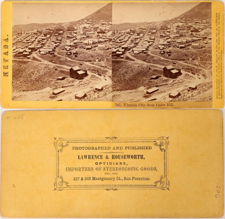 VIRGINIA CITY, FROM CEDAR HILL. Number 707. Stereo view. Albumen print. Nevada, Virginia City, Lawrence, publishers Houseworth.