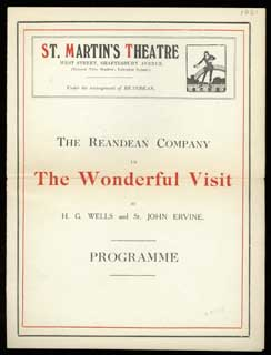 THE REANDEAN COMPANY IN THE WONDERFUL VISIT ... by H. G. Wells and St. John Ervine. PROGRAMME [cover title]. Wells.