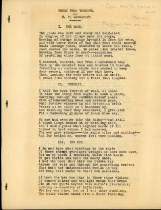 """FUNGI FROM YUGGOTH"" [poems]. TYPED MANUSCRIPT (TMs). 11 pages typed on rectos of eleven sheets..."