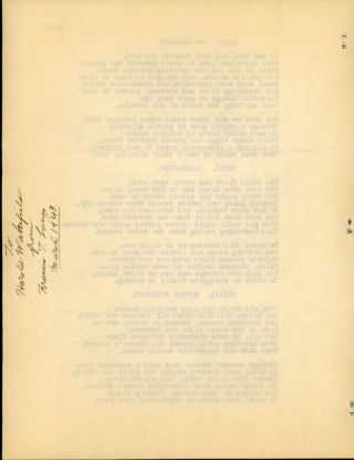 """FUNGI FROM YUGGOTH"" [poems]. TYPED MANUSCRIPT (TMs). 11 pages typed on rectos of eleven sheets of 8 1/2 x 11-inch plain paper, side stapled. Fair copy, carbon, made by Francis T. Laney, circa 1941. A presentation copy with signed inscription by Laney on verso of last sheet: ""To / Harold Wakefield / from / Francis T. Laney / March 1943."""