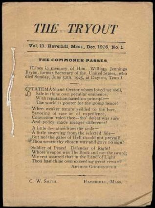 THE. December 1926 . TRYOUT, C. W. Smith, number 1 volume 11.
