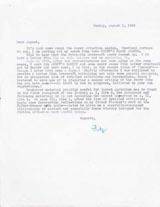 "TYPED LETTER SIGNED (TLS). 1/2 page on a single sheet of letter-size paper, signed ""Fritz"" in..."