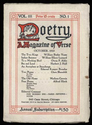 POETRY: A. MAGAZINE OF VERSE. October 1913 ., Harriet Monroe, number 1 volume 3