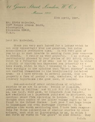 ARCHIVE OF 203 LETTERS (TLSs and ALSs) TO HIS AMERICAN LITERARY AGENT, KIRBY McCAULEY, WRITTEN BETWEEN 1967 AND 1981.