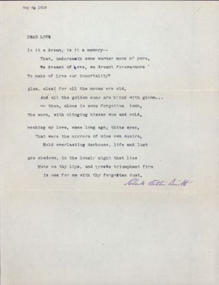 """DEAD LOVE"" [poem]. TYPED MANUSCRIPT SIGNED (TMsS). Sonnet (fourteen lines) on full sheet of..."