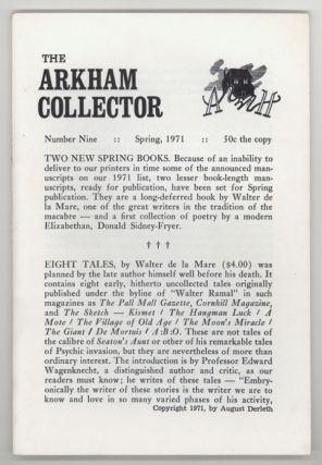 THE. Spring 1971 . ARKHAM COLLECTOR, August Derleth, number 9