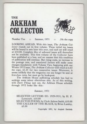 THE. Summer 1971 . ARKHAM COLLECTOR, August Derleth, number 10